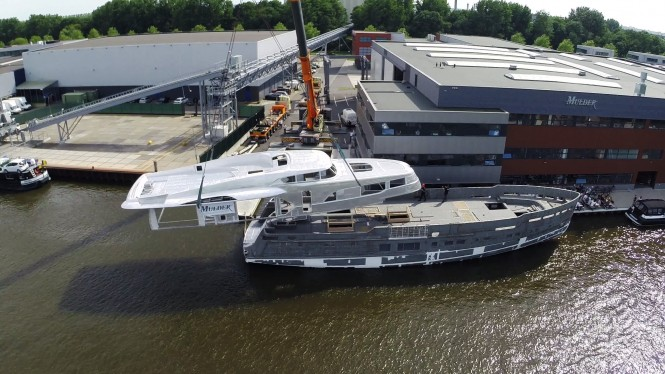 Mulder 34m motor yacht BN100 from above