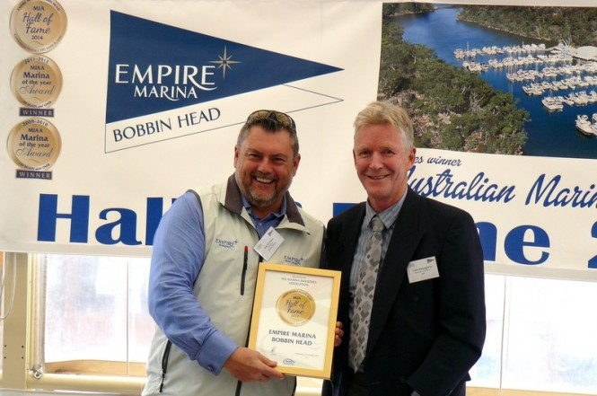 1.Darren Vaux, Director EMBH  receiving the Hall of Fame Certificate from Colin Bransgrove, MIA