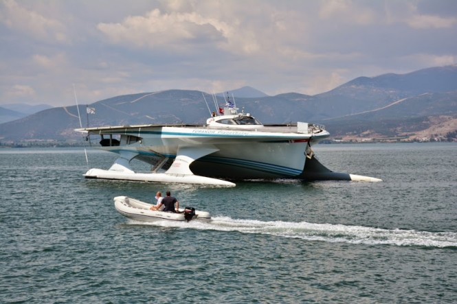 PlanetSolar in Napflio - a lovely Greece yacht charter destination - Image credito to PlanetSolar