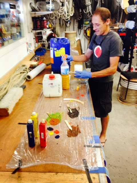 RSB Sergi mixing up the UV resistant paint for the Dyneema tips