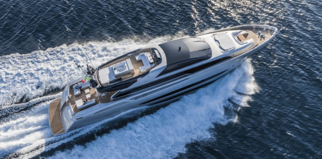 Riva Mythos 122 luxury yacht SOL from above - Photo by Alberto Cocchi