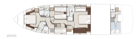 Sunseeker Manhattan 65 Yacht Lower Deck Layout
