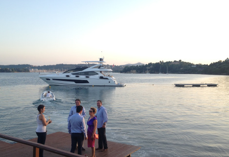 Sunset in Corfu guests were taken onboard the 75 Yacht FINEZZA by tender, enjoying a true Sunseeker experience