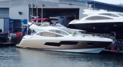 The gold-hulled Sunseeker 80 Sport Yacht �ALFA QUATTRO�