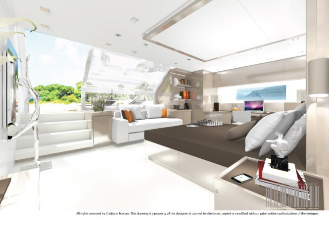 The owner's suite aboard Project MY385_CMA Yacht by Cristiano Mariani Architect