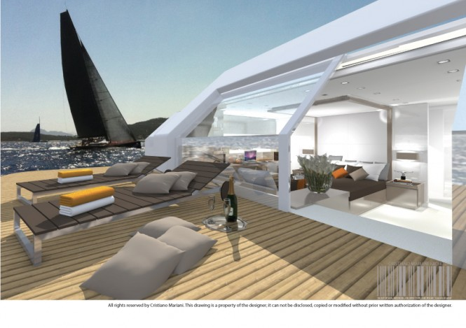 The owner's suite aboard luxury yacht Project MY385_CMA