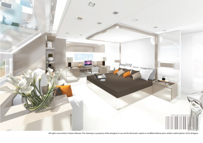 The owner's suite aboard superyacht Project MY385_CMA