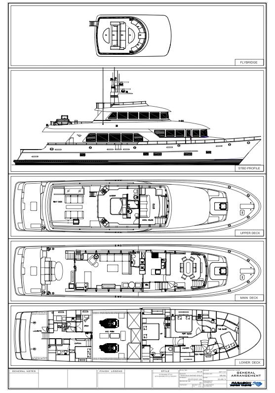 100ft superyacht SkyMaster - General arrangement