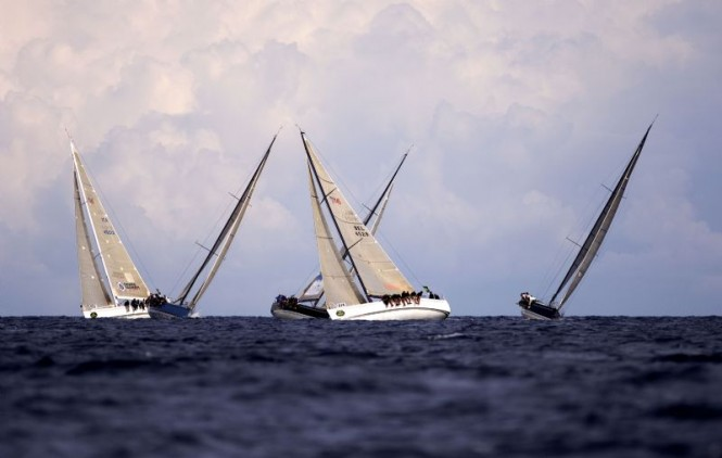 2006 Rolex Swan Cup - The Swan 45 fleet cross tacking upwind