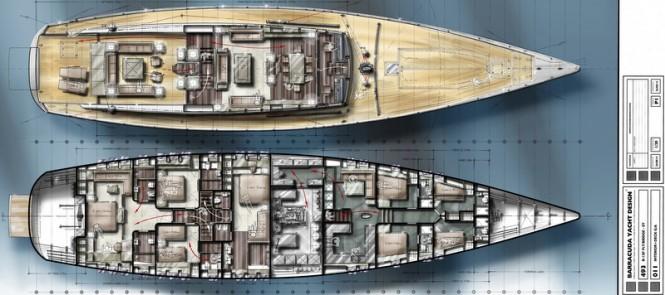 36,5m Barracuda luxury yacht concept - General Arrangements