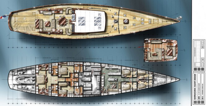 38m Barracuda luxury yacht design for JFA - Deck Layouts