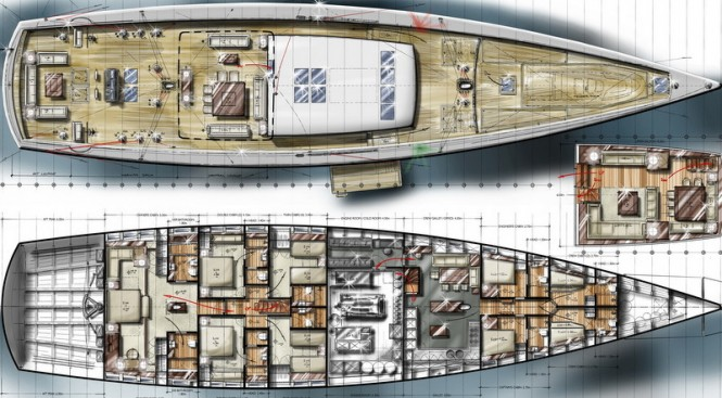 42m Barracuda super yacht design for Pendennis - Interior and Deck GA
