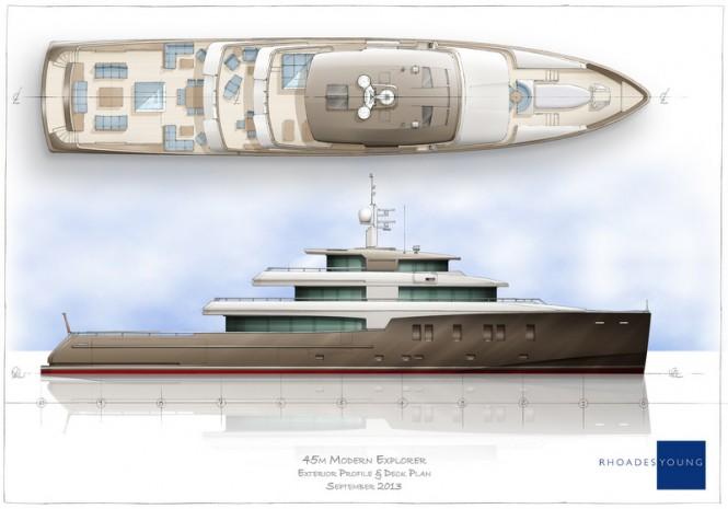 45m Rhoades Young Yacht Concept - Profile and Deckplan