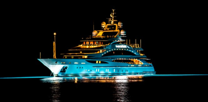 61m Benetti super yacht Diamonds Are Forever (FB 253) by night - Photo credit to Daniel Kennerknecht