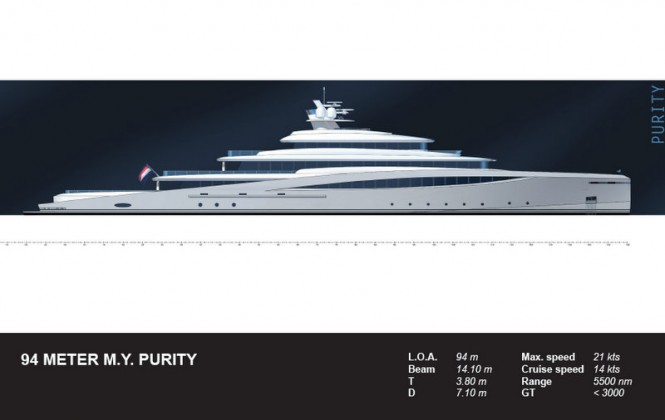 94m superyacht Purity design - Profile