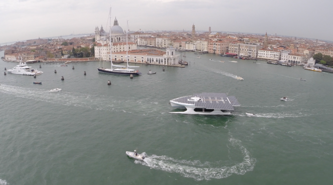 Aerial view of PlanetSolar in Venice © PlanetSolar