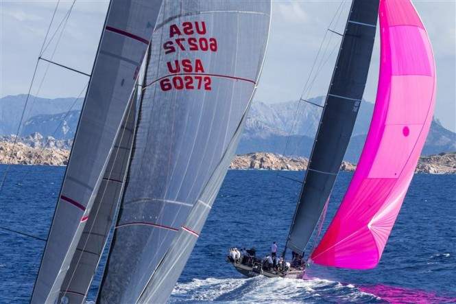 BELLAMENTE (USA) chases JETHOU (GBR) downwind - Photo by Rolex Carlo Borlenghi