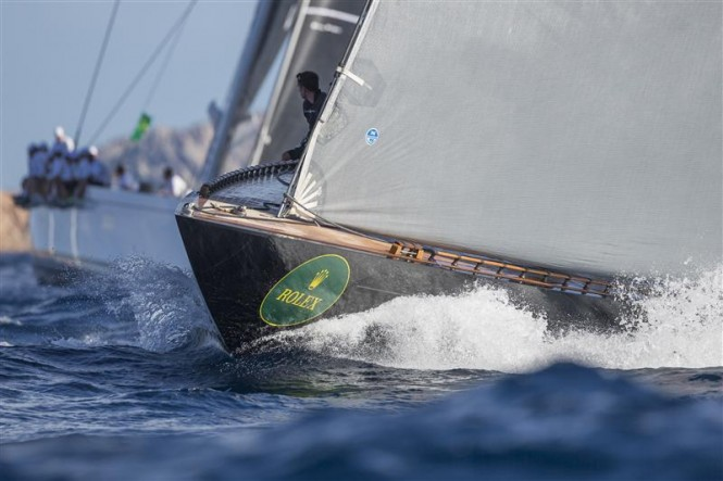 Bowman watching the competitors from the bow of FIREFLY (NED) - Photo by Rolex Carlo Borlenghi