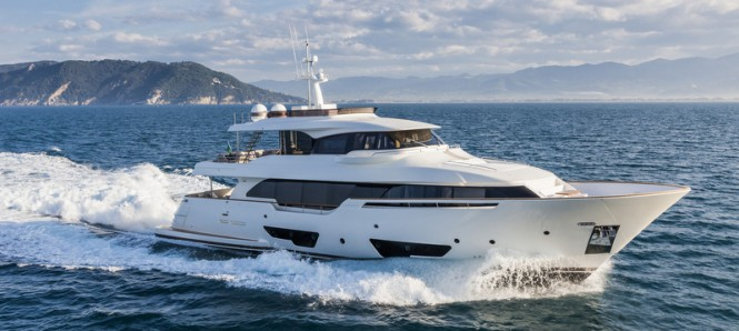 Ferretti Custom Line Navetta 28 Yacht presented at the 2014 Cannes Yachting Festival