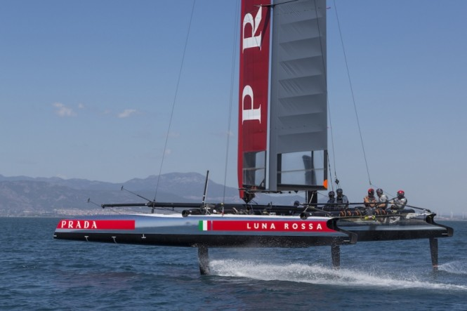 Luna Rossa Challenge flying in its foiling AC45. Photo by Carlo Borlenghi