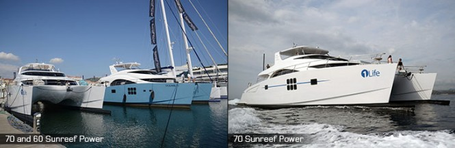 Luxury catamarans by Sunreef on display at the 2014 Cannes Yachting Festival