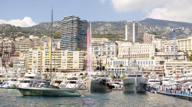 Luxury motor yacht Como on display at the 2014 Monaco Yacht Show