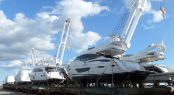 Luxury motor yachts aboard transport vessel Egmondgracht