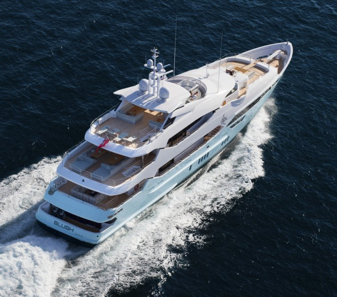 Luxury yacht BLUSH from above