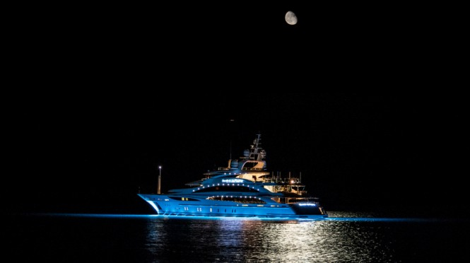 Luxury yacht Diamonds Are Forever - aft view - Photo credit to Daniel Kennerknecht