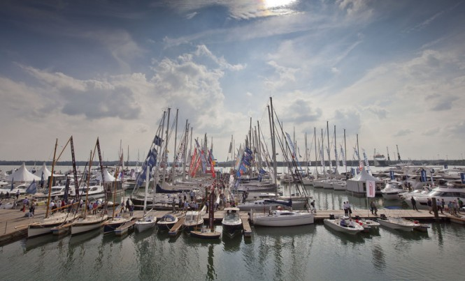 Luxury yachts on display at the 2014 PSP Southampton Boat Show