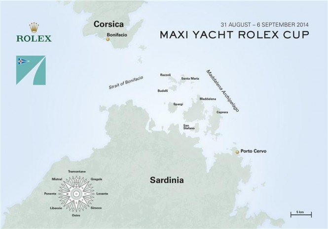 Maxi Yacht Rolex Cup Event Map - Photo credit to Rolex/KPMS