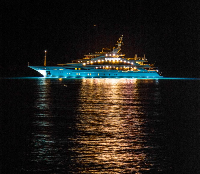 Mega yacht Diamonds Are Forever - side view - Photo credit to Daniel Kennerknecht