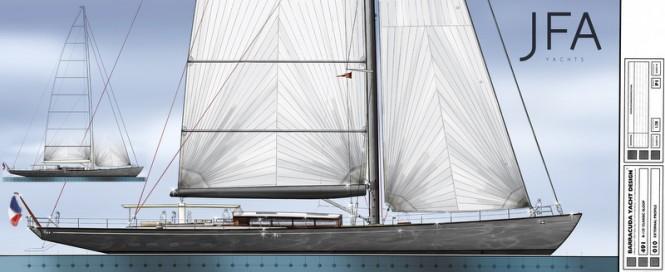 New 38m Barracuda Yacht Design for JFA Yachts in grey