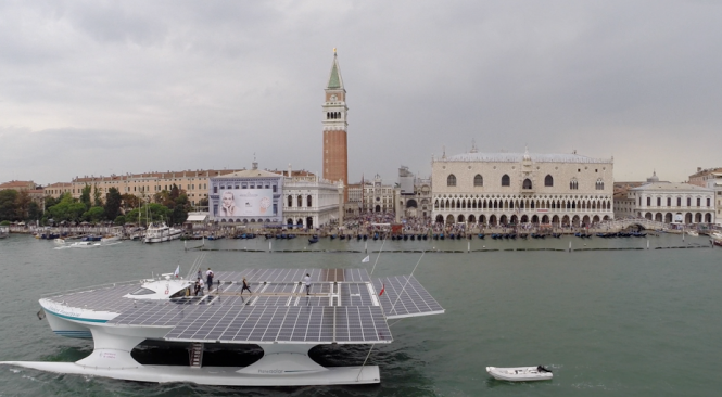 PlanetSolar in the popular Italy yacht holiday location - Venice © PlanetSolar