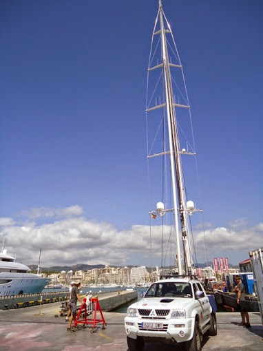 RSB Rigging working on the 58m Alloy charter yacht Kokomo
