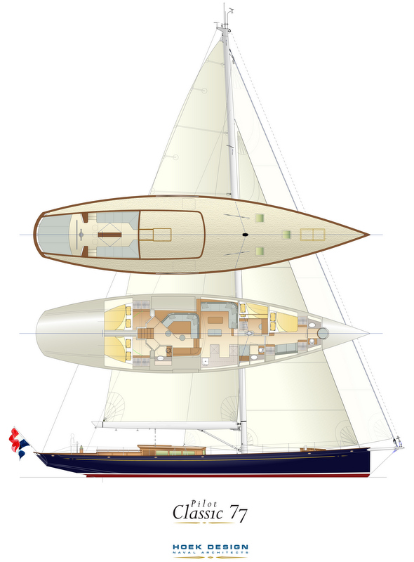 Rendering of the new 77ft Pilot Classic Yacht under construction at Claasen Shipyards