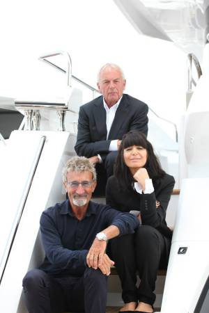 Robert Braithwaite was joined by Claudia Winkleman and Sunseeker owner Eddie Jordan at the launch of the 86 Yacht and Manhattan 65