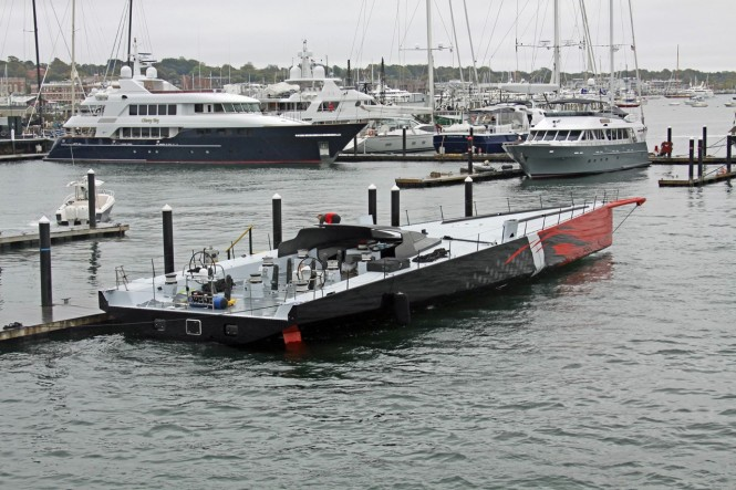 100ft Hodgdon super yacht Comanche on the water