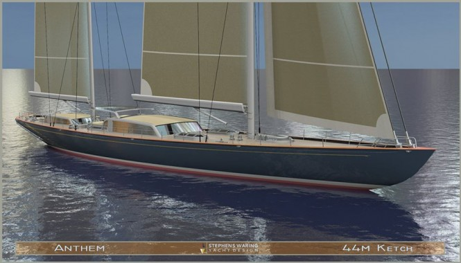 44m Spirit of Tradition superyacht Anthem concept by Stephens Waring Yacht Design