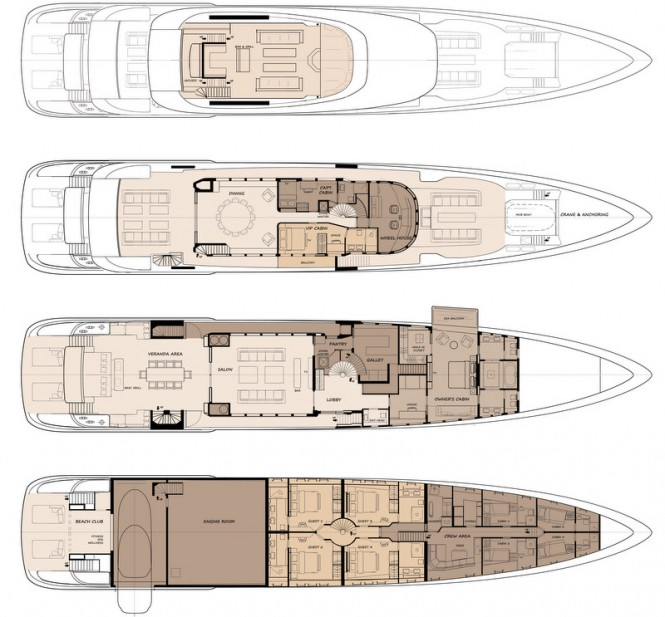 50m Acico luxury yacht concept - Floor Plan
