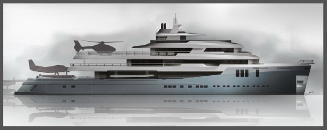 74m expedition yacht Austin concept - Profile