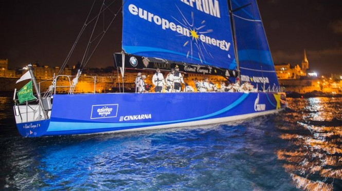 ESIMIT EUROPA 2 (SLO) crosses the finish line to claim line honors for the 4th time - Photo by Rolex Kurt Arrigo