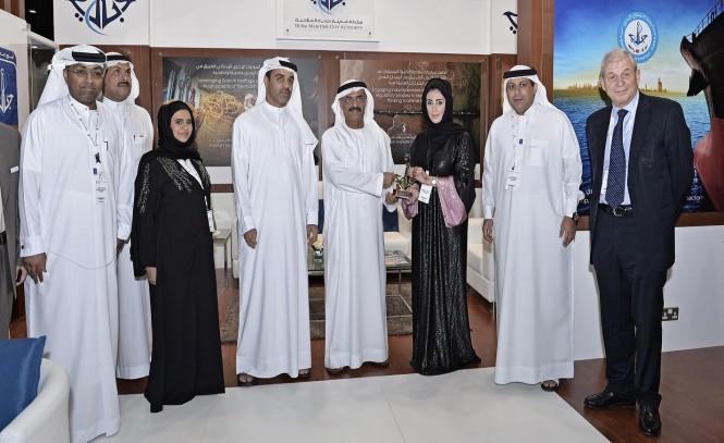 H.E. Dr. Abdullah Belhaif Al-Nuaimi, Minister of Public Works during his visit to DMCA's pavilion at SMEM exhibition.