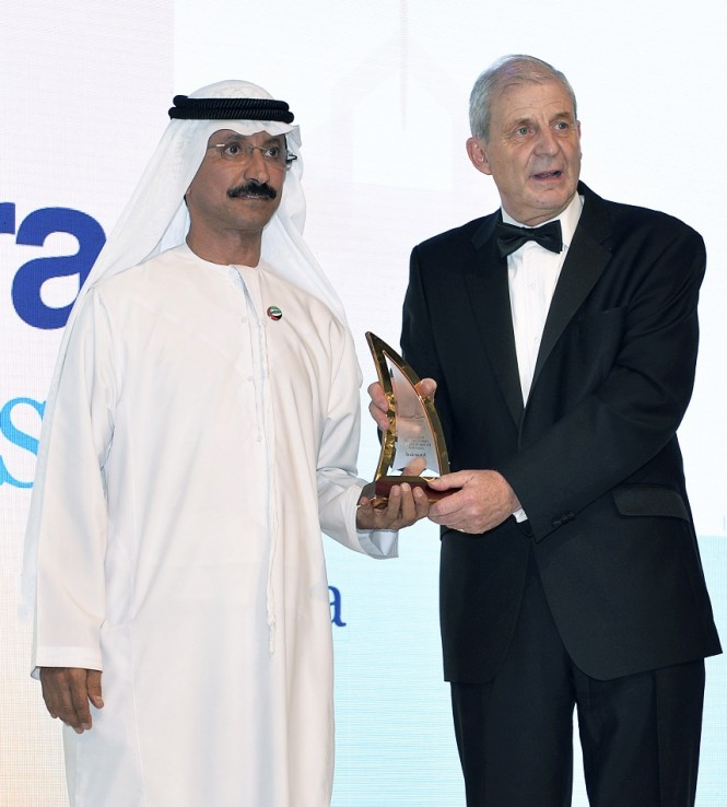 H.E. Sultan Bin Sulayem, Chairman of Dubai Ports, Customs and Free Zone Corporation and President of Dubai Maritime City Authority while receiving the award
