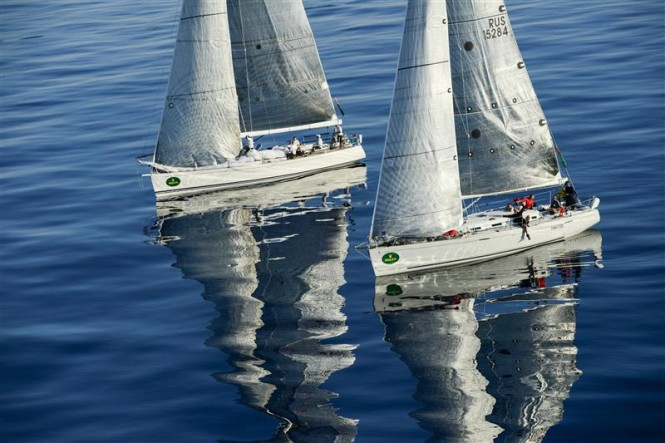 HIGH SPIRIT (RUS) and EALA OF RHU (GBR) searching for wind as they approach Stromboli