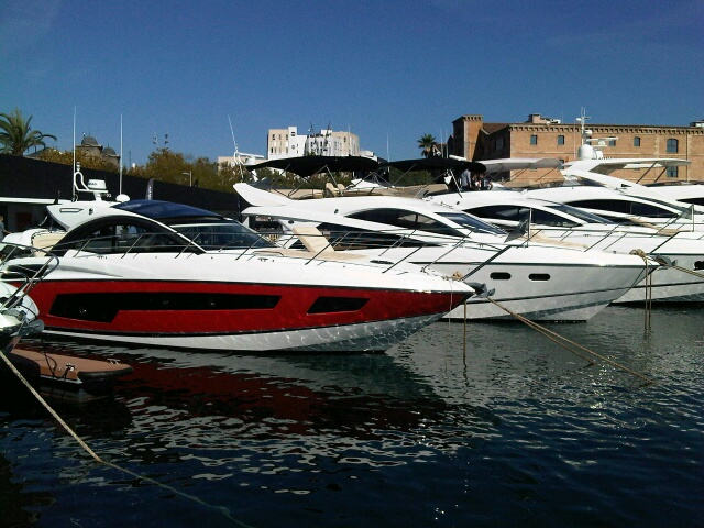Luxury motor yachts on display at the Barcelona Boat Show 2014
