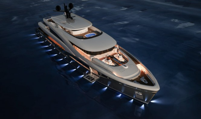 Luxury yacht NB102 by Sarp by night