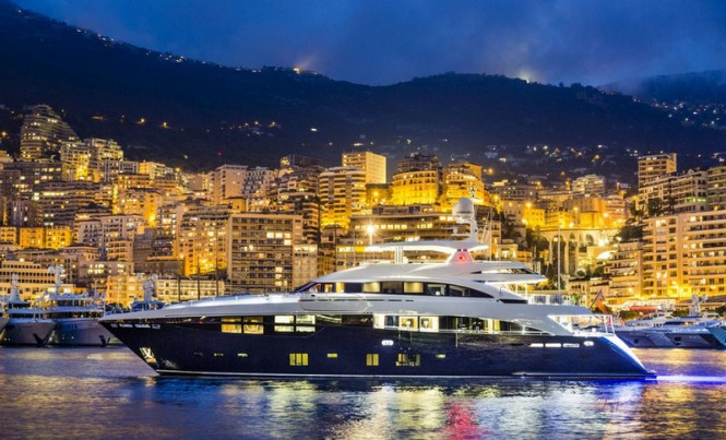 Luxury yacht Solaris by night