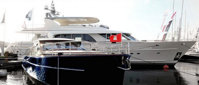 Mulder 98' Fly bridge superyacht YN1391 and Mulder Favorite 1500 at the 2014 HISWA in-water Boat Show