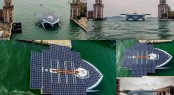 PlanetSolar in the popular Venezia yacht charter location, nestled in Italy